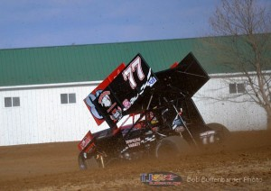 Shane Stewart (#77) racing with Stevie Smith (#83) at Attica Raceway Park. - Bob Buffenbarger Photo