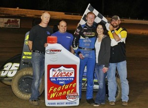 Marr Sherrell and his team in victory lane at Creek County Speedway. - Mike Spivey Photo