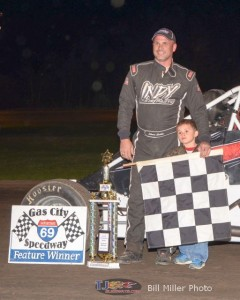 Shane Cottle in Victory Lane after winning the 25 lap non-wing sprint car feature event at the Gas City I-69 Speedway on Friday April 18, 2014. - Bill Miller Photo