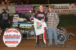 Brady Short in victory lane after winning Friday night at Bloomington Speedway. - James McDonald / Apexonephoto.com