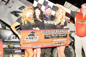 Tommy Tarlton in victory lane after winning at Thunderbowl Raceway. - Paul Trevino Photo