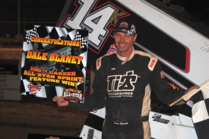 Dale Blaney in victory lane at Attica Raceway Park after scoring his 100th UNOH All Star Circuit of Champions feature victory.   - T.J. Buffenbarger Photo