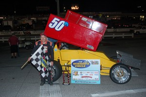 Gerster after his Must See Racing win at Mobile International Speedway Saturday night. David Sink Photo