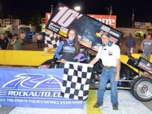 Morgan Turpen in victory lane at Southern National Motorsports Park. - USCS Photo