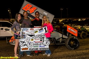 Alex DeCamp is all smiles after another win at Tri-State Speedway Mike Spivey Photo