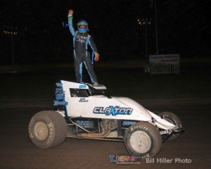 Justin Grant in victory lane Friday night at Gas City I-69 Speedway. - Bill Miller Photo