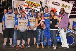 The Lunstra/Dobmeier team in Victory Lane at Huset's (Jeff Bylsma Photo)