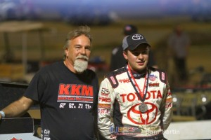 Keith Kunz (l) and Christopher Bell (r) in victory lane on Saturday night at Belle-Clair Speedway. - Sam Martin Photo