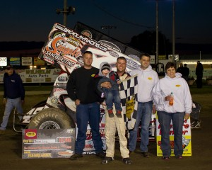 Brian Lay in victory lane at Fremont Speedway. - Christopher Gilbert  Photo