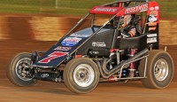 Austin Brown won the Badger Midget Auto Racing Association feature Sunday night at Angell Park Speedway.