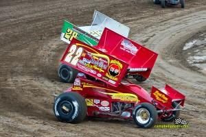 Randy Hannagan (#22H) and Hud Horton (#28) Friday at Limaland Motorsports Park. - Mike Campbell Photo