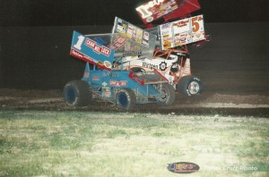 The outcome of Mark Kinser and Sammy Swindell's incident under caution at I-96 Speedway. - Cyndi Craft Photo