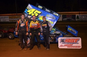 Chuck Hebing (Right) held off Bryan Howland (Center) for the Patriot Sprint Tour Win Friday Night at Raceway 7 in Conneaut, OH.  Point Leader Jared Zimbardi (Left) was third.- Jimmie Porter Photo