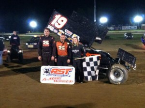 (r to l) Paige Polyak, Scott Kreutter,and Jared Zimbradi were your top three finishers Saturday night at Eriez Speedway with the Patriot Sprint Tour. - Image courtesy of PST