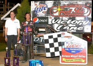 Tanner Thorson in victory lane at Angell Park Speedway. - Image courtesy of POWRi