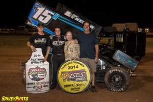 Sam Hafertepe, Jr. raced to victory Wednesday night at the Lawton Speedway with the Lucas Oil ASCS presented by MAVTV American Real. (ASCS / Mike Spivey)