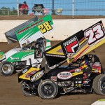 Devon Dobie (#22) racing with Hud Horton (#28) Friday at Limaland Motorsports Park. - Mike Campbell Photo