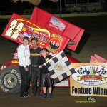 Randy Hannagan with his family in victory lane Friday night at Limaland Motorsports Park. - Mike Campbell Photo