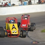 Joe Irwin (#00) racing with Mark Irwin (#56) Friday at Spartan Speedway. - Bob Buffenbarger Photo