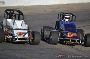Jim Heeney (#17) racing with Jay Rohrbach (#6K) Friday at Spartan Speedway. - Bob Buffenbarger Photo
