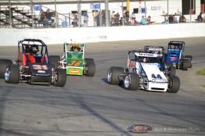 Heat race action at Spartan Speedway. - Bob Buffenbarger Photo