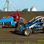 Lee Underwood (#24) racing with Jim Dues (#63) Saturday at Waynesfield Raceway Park. - Mike Campbell Photo