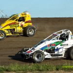 Logan Hupp (#2) racing with Cooper Clouse (#14) Saturday at Waynesfield Raceway Park. - Mike Campbell Photo