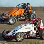 Andy Conley (#14c) racing with Jeremy Powley Saturday at Waynesfield Raceway Park. - Mike Campbell Photo