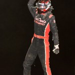 Kyle Simon celebrates his victory on Saturday at Waynesfield Raceway Park. - Mike Campbell Photo