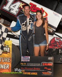 Dale Blaney and daughter in victory lane after winning the UNOH All Star Circuit of Champions Ohio Sprint Speedweek finale at Fremont Speedway. - Mike Campbell Photo