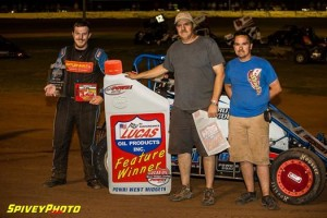 Alex Sewell with his team in victory lane at I-44 Speedway. - Mike Spivey Photo