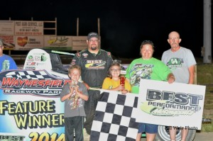 Matt Westfall won the non-wing Sprint Car Feature Saturday night June 7, 2014 at Waynesfield Raceway Park.  - Bill Weir Photo