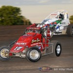 Jerry Coons, jr. (#10) racing with Cooper Clouse (#14) Friday night at Gas City I-69 Speedway. - Bill Miller Photo