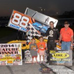 Jimmy McCune in Victory Lane with Hurryin' Hank Lower, the Grand Marshall for the event. - Bill Miller Photo