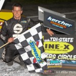Jimmy McCune in Victory Lane at the Angola Motorsports Speedway. - Bill Miller Photo