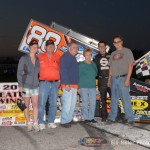 Jimmy McCune celebrates in Victory Lane with family and crew. - Bill Miller Photo