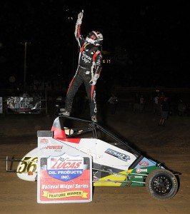 Darren Hagen celebrates his Thursday night POWRi Midget triumph at Quincy Raceways. - TWC Photo
