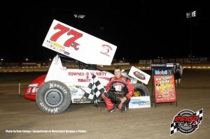 Ryan Hunsinger won the crate sprint car feature. Dale Calnan / www.ImageFactor.ca