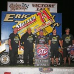 Joey Saldana and crew in victory lane at Jackson Speedway.  (Serena Dalhamer photo)