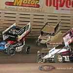 Daryn Pittman (9), Dusty Zomer (91), and Kraig Kinser (11K) (Serena Dalhamer photo)