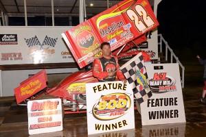 Randy Hannagan in victory lane at Butler Motor Speedway. - Tom Willavize Photo