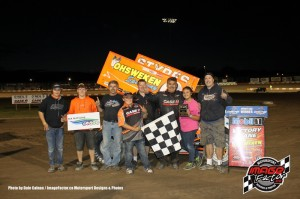 Glenn Styres with his team in victory lane at Ohsweken Speedway on Friday. - Dale Calnan / www.ImageFactor.ca