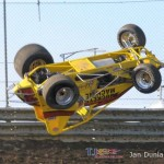 Logan Hupp tumbles at Waynesfield Raceway Park. - Jan Dunlap Photo