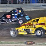 Logan Hupp (#2) racing with Mike Miller (#82) at Waynesfield Raceway Park. - Jan Dunlap Photo