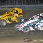 Logan Hupp (#2) racing with Cooper Clouse (#14) Saturday at Waynesfield Raceway Park. - Jan Dunlap Photo