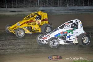 Logan Hupp (#2) racing with Cooper Clouse (#14) Saturday at Waynesfield Raceway Park. - Jan Dunlap Photo