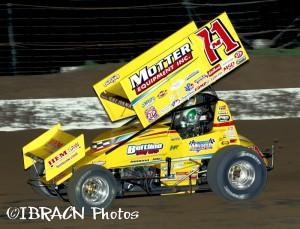 Joey Saldana on his way to victory on Friday night at I-80 Speedway. - Brad Brown / IBRACN Photo