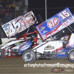 Brian Lay (#45) racing with Donny Schatz (#15) Friday at Attica Raceway Park. - Action Photo