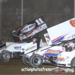 Steve Kinser (#11) and Chad Kemenah (#63) Friday at Attica Raceway Park. - Action Photo