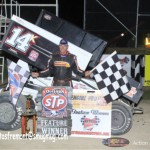 Dale Blaney after winning Friday night's World of Outlaws STP Sprint Car Series feature at Attica Raceway Park. -Action Photo